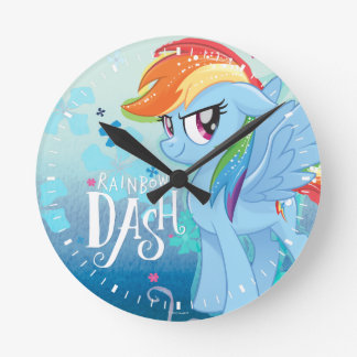 My Little Pony | Rainbow Dash Watercolor Flowers Round Clock