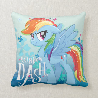 My Little Pony | Rainbow Dash Watercolor Flowers Throw Pillow