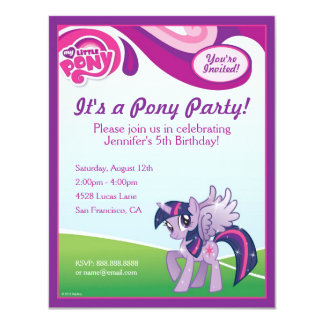 "My Little Pony Twilight Sparkle Birthday Party 4.25"" X 5.5"" Invitation Card"