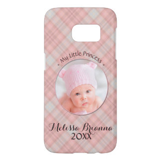 My Little Princess • Baby Girl • Pink Plaid Samsung Galaxy S7 Case