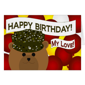My Love - Happy Birthday Army Soldier Husband! Greeting Card