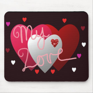 My Love Hearts Valentines Mousepad