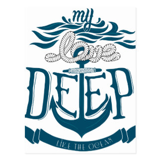 My love is deep like the ocean postcard