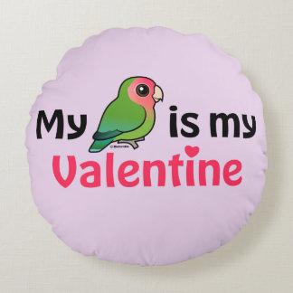 My Lovebird Is My Valentine Round Pillow