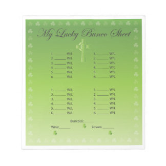 My Lucky Bunco Card 2 Scratch Pads
