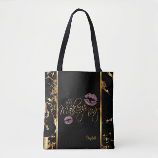 My Makeup Gold Marble Bag- Pink Rose Glitter Lips Tote Bag
