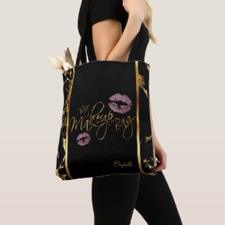 My Makeup Gold Marble Bag- Pink Rose Glitter Lips Tote Bag