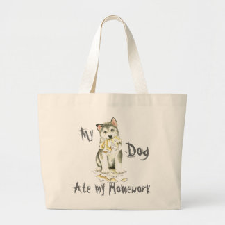 My Malemute Ate My Homework Large Tote Bag