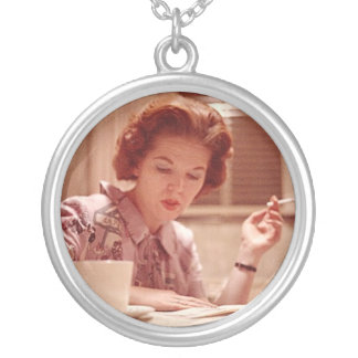 My Mid Century Mom ~ Vintage Smoking Woman Photo Silver Plated Necklace