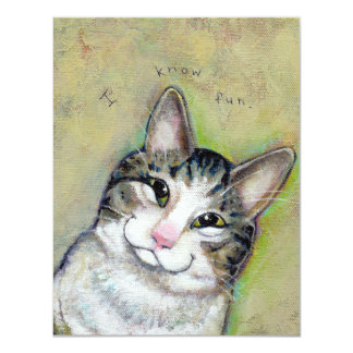 """My Middle Name is Trouble - fun cat art CUSTOM 4.25"""" X 5.5"""" Invitation Card"""