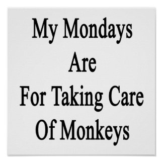 My Mondays Are For Taking Care Of Monkeys Poster