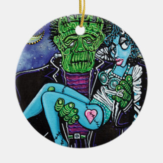 My Monster My Bride Round Ceramic Ornament
