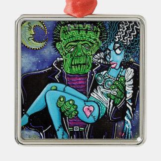 My Monster My Bride Silver-Colored Square Ornament