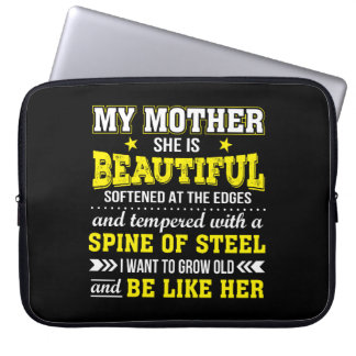 My Mother Is Beautiful Softened Edges Laptop Sleeve
