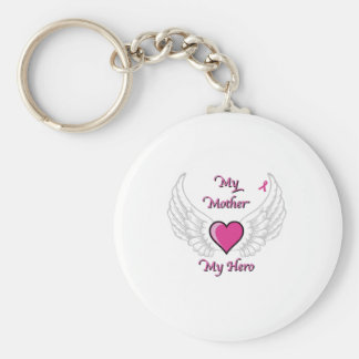 My Mother My Hero Wings and Heart 2 Basic Round Button Keychain