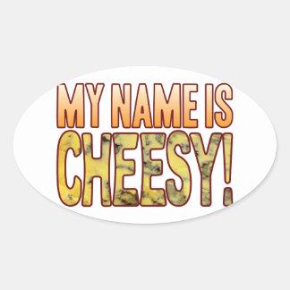 My Name Blue Cheesy Oval Sticker