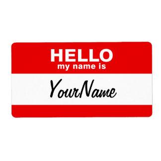 My Name Is Blank Custom Nametag Red