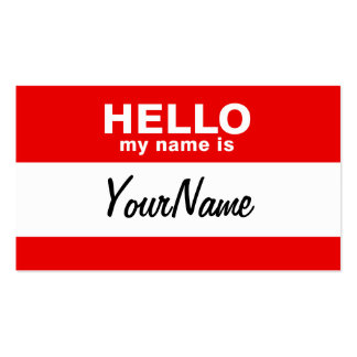 My Name Is Blank Custom Nametag Red Business Card