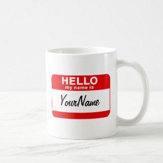 My Name Is Coffee Cup Blank Custom Nametag Red Classic White Coffee Mug