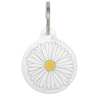 My Name is Daisy Dog White Yellow Flower Floral Pet Tag
