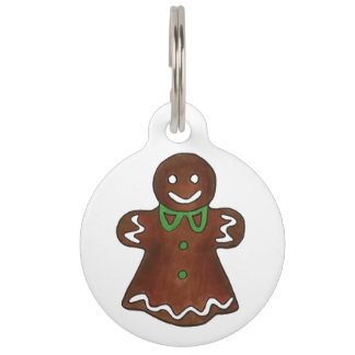 My Name is GINGER Gingerbread Lady Woman Christmas Pet Name Tag