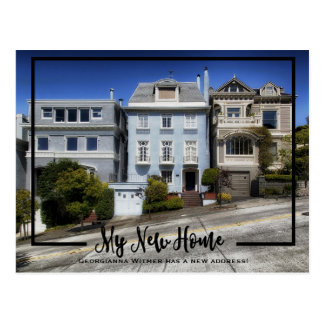 My New Home Photo Black Frame Moving Announcement Postcard