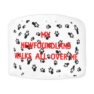 my newfie walks on me pouf