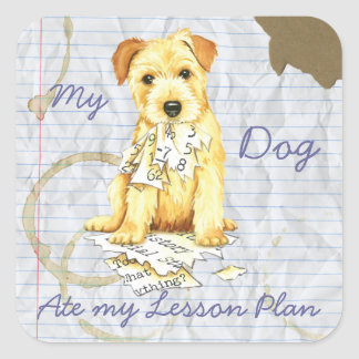 My Norfolk Terrier Ate My Lesson Plan Square Sticker