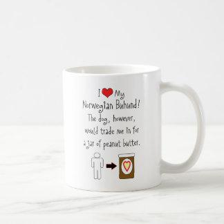 My Norwegian Buhund Loves Peanut Butter Basic White Mug