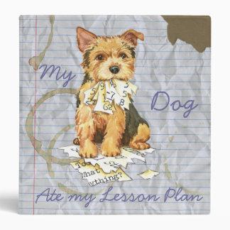 My Norwich Terrier Ate My Lesson Plan Vinyl Binder