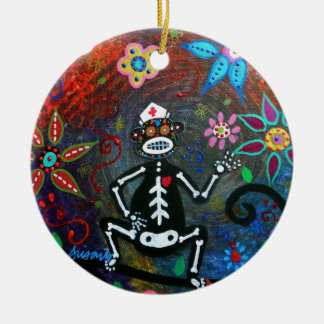 MY NURSING ASSISTANT MONKEY DAY OF THE DEAD CERAMIC ORNAMENT