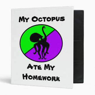 My Octopus Ate My Homework 3 Ring Binders