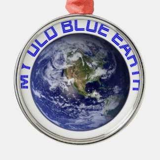 MY OLD BLUE EARTH Silver-Colored ROUND ORNAMENT