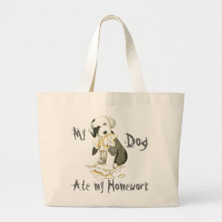 My Old English Sheepdog Ate My Homework Large Tote Bag