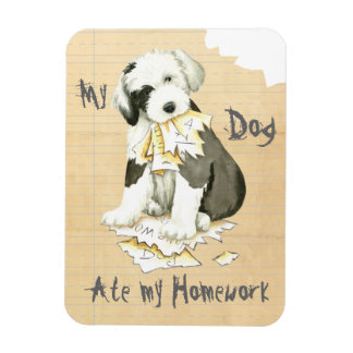 My Old English Sheepdog Ate My Homework Rectangular Photo Magnet