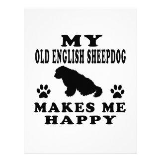 My Old English Sheepdog Makes Me Happy Letterhead Design