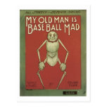 My Old Man Is Baseball Mad Vintage Songbook Cover Postcard