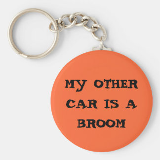 my other car is a broom basic round button keychain