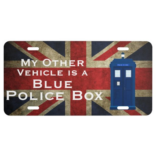 My other vehicle is a blue police box Union Jack License Plate