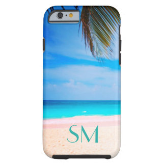 My Own Initials in the Sand -Tropical Beach View - Tough iPhone 6 Case