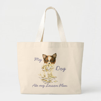 My Papillon Ate My Lesson Plan Jumbo Tote Bag