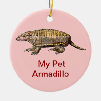 My Pet Armadillo - Cute & Cuddly - YES ! Round Ceramic Ornament