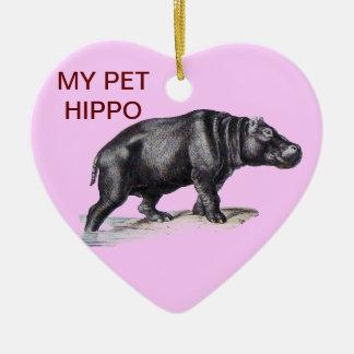 MY PET HIPPO CERAMIC HEART ORNAMENT