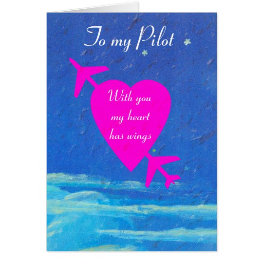 My Pilot Valentine-pink heart in sky Card