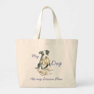 My Pit Bull Ate My Lesson Plan Large Tote Bag