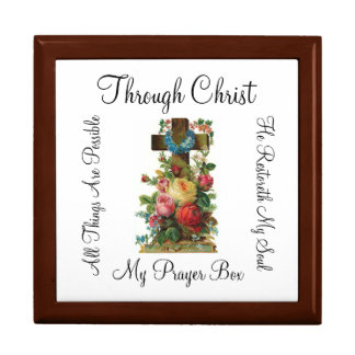 My Prayer Box Floral Wooden Cross- gift box