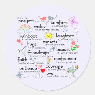 My Prayer For You Round Sticker