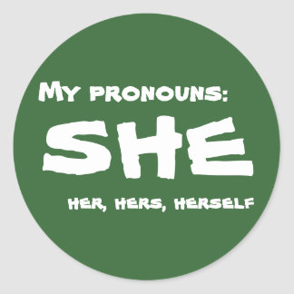 My Pronouns She Classic Round Sticker