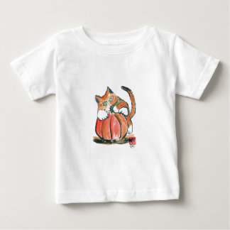 My Pumpkin Meows Tiger Kitten, Sumi-e Baby T-Shirt