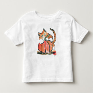 My Pumpkin Meows Tiger Kitten, Sumi-e Toddler T-shirt